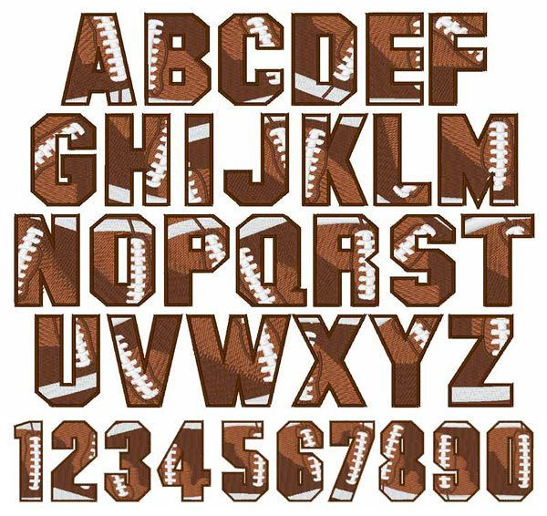 FOOTBALL machine embroidery font - 26 Uppercase Letters, Numbers 0-9 - 4 different sizes!