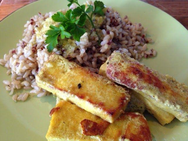 Patrícia is cooking.: Bifinhos de tofú em molho de mostarda com arroz integral e quinoavermelha {Vegan, integral, sem glúten}