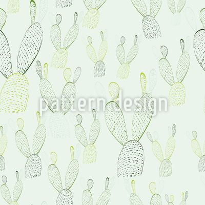 Nopal Cactus Bunny Ears - Seamless pattern with nopal cacti illustrations. #pattern #cactus #nopal #patterndesign
