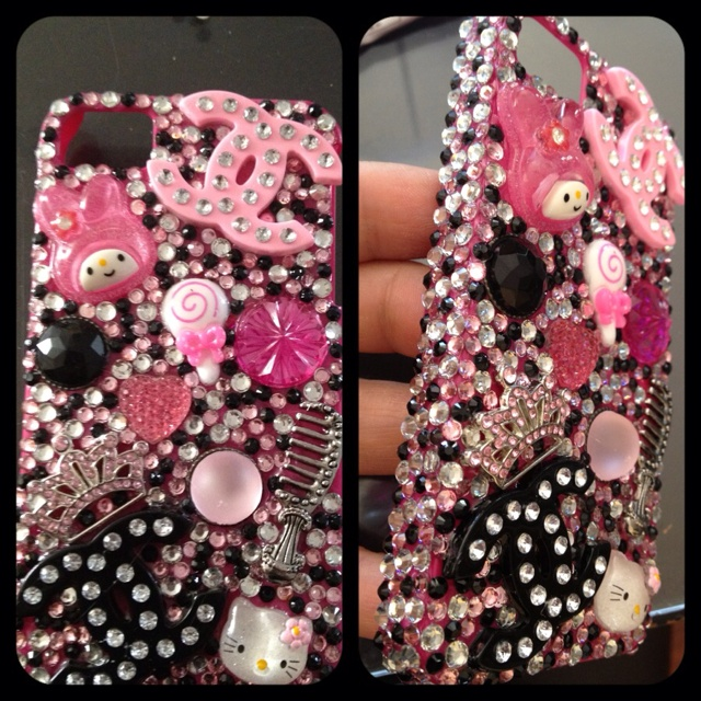 Pink and black hello kitty phone covers pinterest