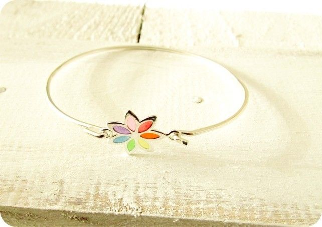 "Sterling Silver Buttonsy ""Stained Glass"" Rainbow Flower Bangle £28.00"