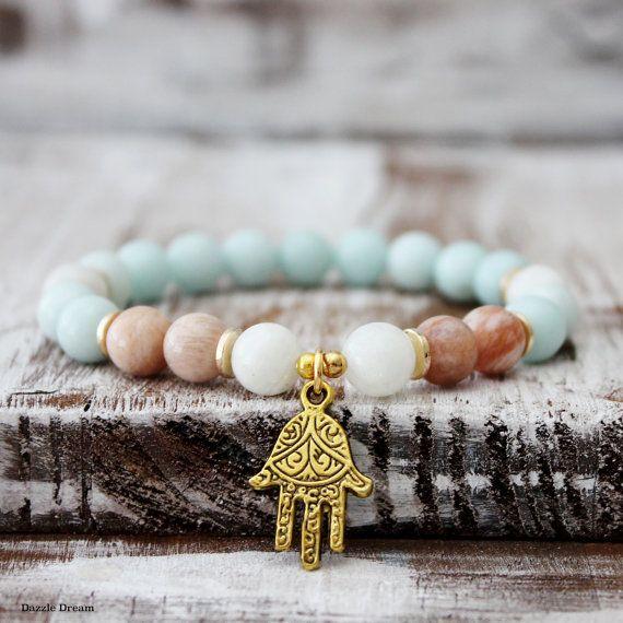 Amazonite Wrist Mala, Sunstone Bracelet, Moonstone Mala, Yoga Bracelet