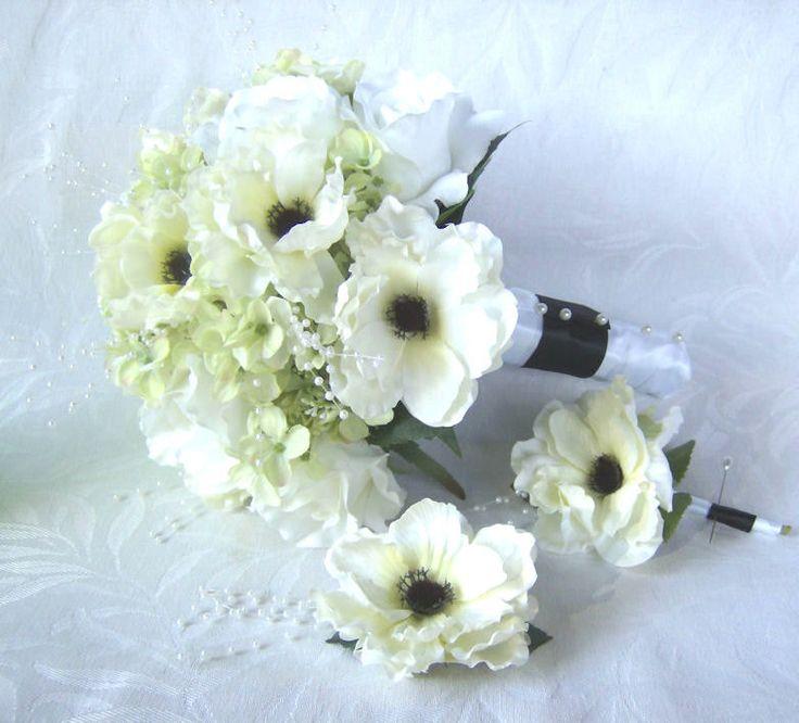 Anemone wedding bouquet boutonniere hair clip elegant black and white anemone green hydrangea 3 piece bridal bouquet. $75.00, via Etsy. - Cute Idea (swap green hydrangea for purple ones)
