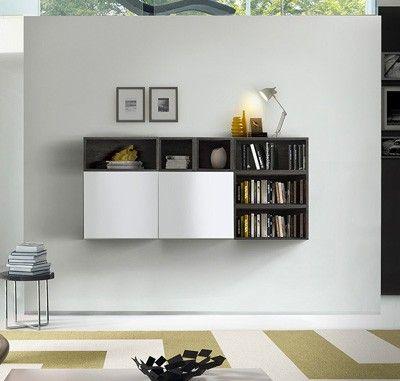 Parete attrezzata, moderna e di design, bianco lucido e rovere grigio
