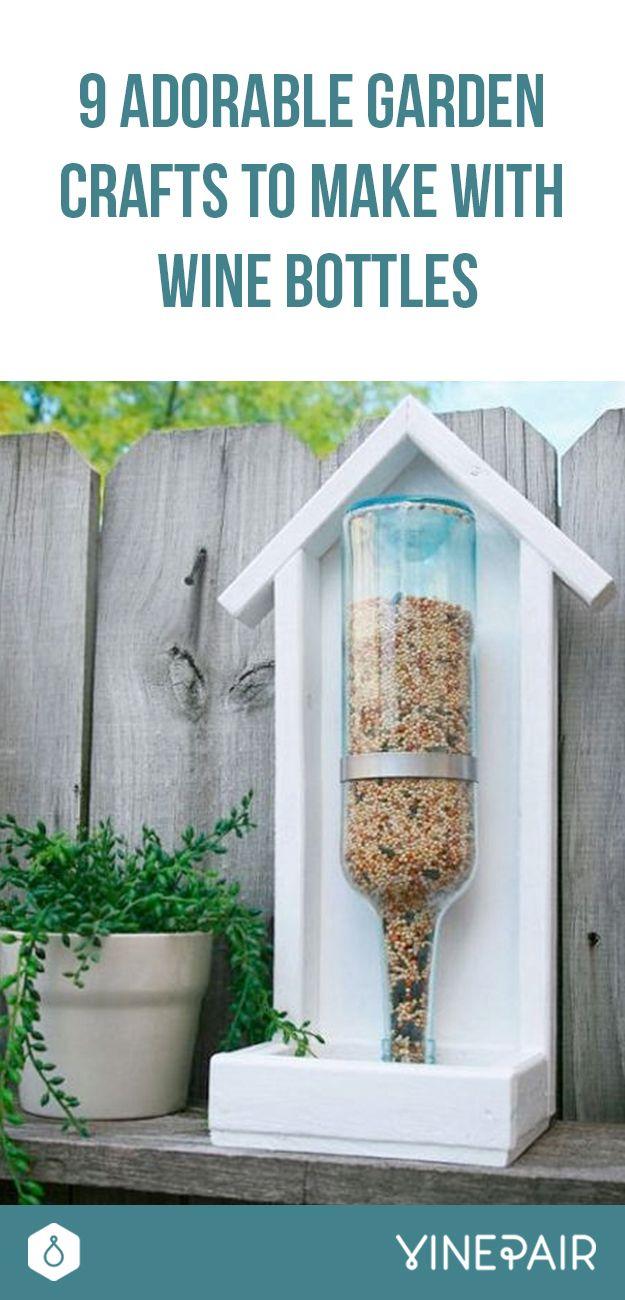 Wine bottle crafts outdoor - 9 Adorable Garden Crafts To Make With Wine Bottles