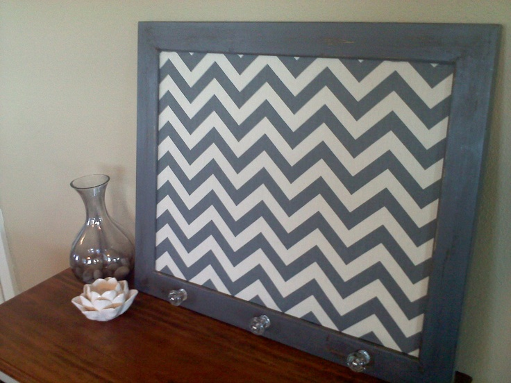 Gray and White Distressed Framed Cork Board - Glass Knobs