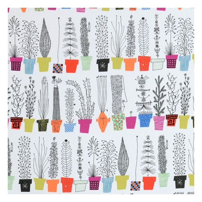 Awesome fabric pattern - colorful potted house plants | Italian Flower by Swedish designer Olle Eksell