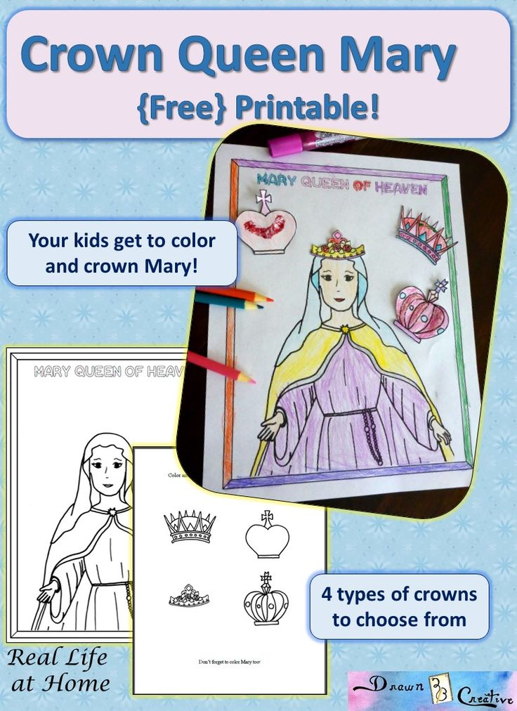Celebrate Mary, Queen of Heaven with this fun free coloring page that features multiple choices of crowns. This is also perfect as a refrigerator magnet set