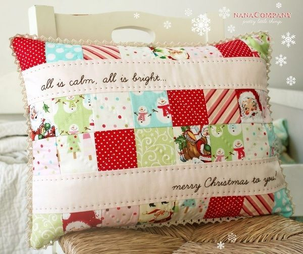 Quilted pillow from scraps of Christmas fabric