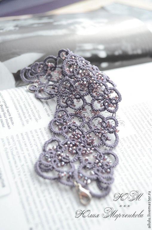 """Кружевной браслет """"Виолет"""" - темно-фиолетовый,фриволите,анкарс,плетение"""