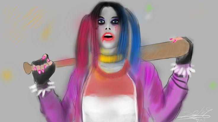 After a year, started again to draw fun arts! One of them is the character of  Harley Queen!