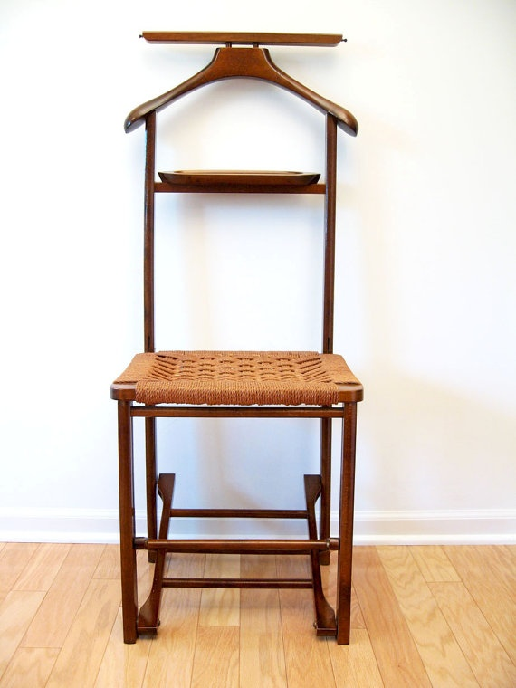 Mid Century Danish Modern Valet Butler Chair With Rope