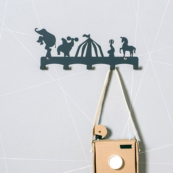 Circus coat hanger kids wall hook nursery coat rack baby wall decor coat hanger and coat - Kids decorative wall hooks ...