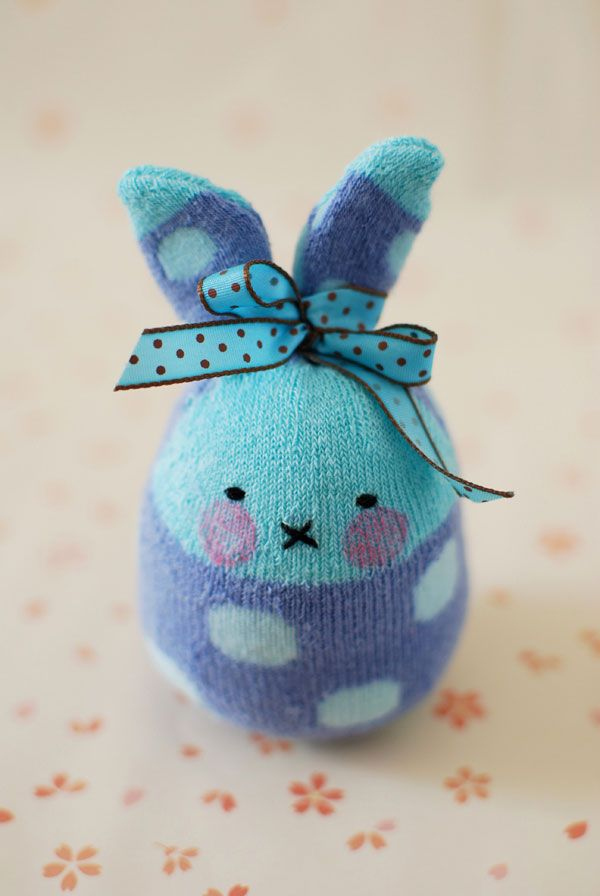 Bunny Softies From Socks  Use adult socks instead to make a larger animal?