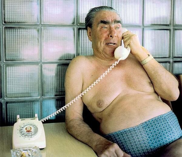 Brezhnev on the phone in his underwear