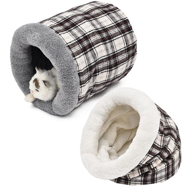 Pet Cat Sleeping Bag Puppy Bed Soft House For Cat Kitten Nest Small Dog Grid Cushion Animals Mats Rabbit Cat Beds Chinchilla Cag
