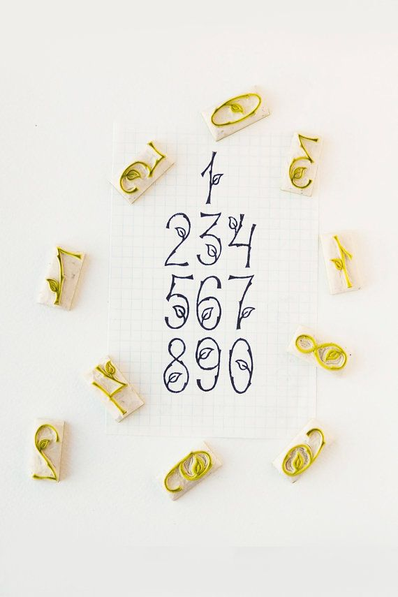 Woodland Numbers Stamps - Set of 10 woodland number carved stamps - Twig and leaf numbers stamp set