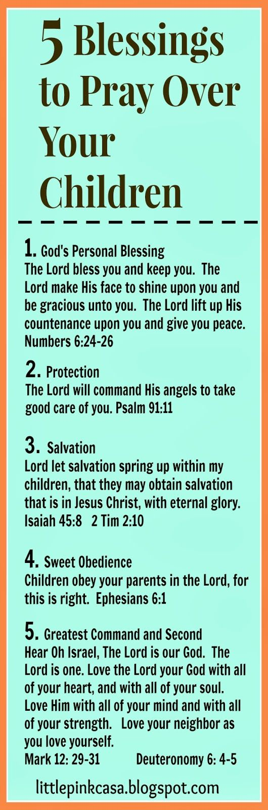 Day 1: 5 Blessings To Pray Over Your Children {5 Day of Blessings For Your Family Series} { Days  1 thru 5}  Day 1: 5 Blessi...