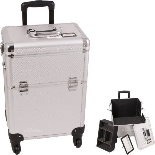 """SILVER INTERCHANGEABLE 4-WHEELS DOT PATTERN PROFESSIONAL ROLLING ALUMINUM COSMETIC MAKEUP CASE WITH REMOVABLE TRAY AND DIVIDERS - E6301 by SunRise. $104.99. New interchangeable series. Upgradable to any """"E"""" series top cases. This line will allow customer to mix and match any """"E"""" series cases according to their needs. New interchangeable series. Upgradable to any """"E"""" series top cases. This line will allow customer to mix and match any """"E"""" series cases according to their need..."""