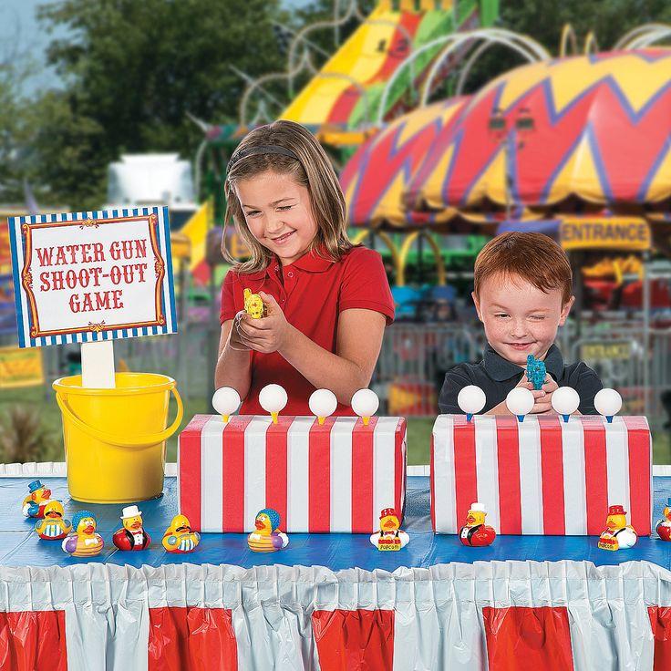 12 Fun Circus Carnival Party Games: Water Gun Shoot Out Game Idea