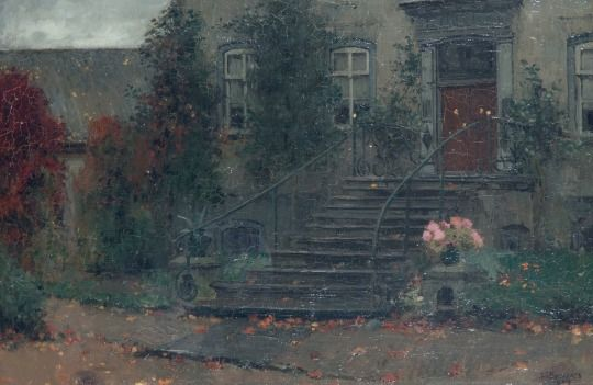 Jan Bogaerts (1878–1962)   Gele en roze rozen op het bordes van een landhuis, 1904