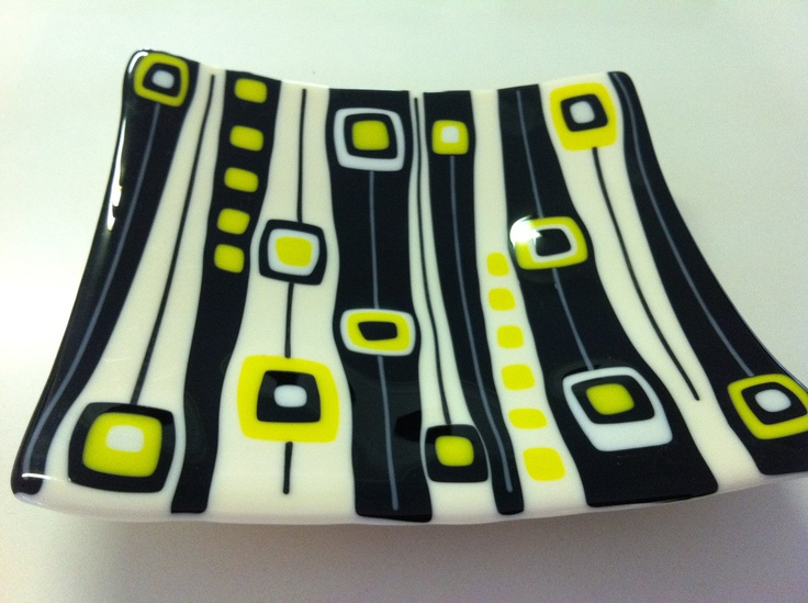 Fused glass 1950's and 60s inspired platter