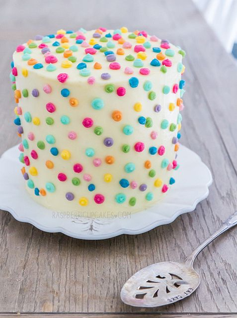 Polka Dot Icing Cake with Strawberry & Rhubarb by raspberri cupcakes, via Flickr