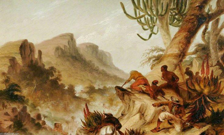Et Cafres Hottentots rebelles d attaquer un wagon de train de Thomas Baines (1820-1875, United Kingdom)