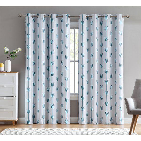 Ivy Bronx Brendle Geometric Blackout Thermal Grommet Curtain Panels Reviews Wayfair Outdoor Grommet Curtains Grommet Curtains Custom Drapes