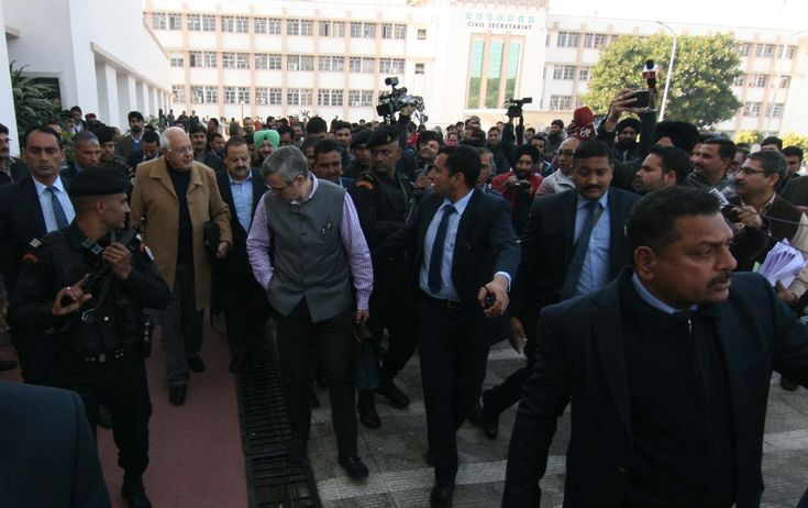 NC Party president Farööq Abdullah along with former CM Omar Abdullah coming out from Legislative Council building in Jammu