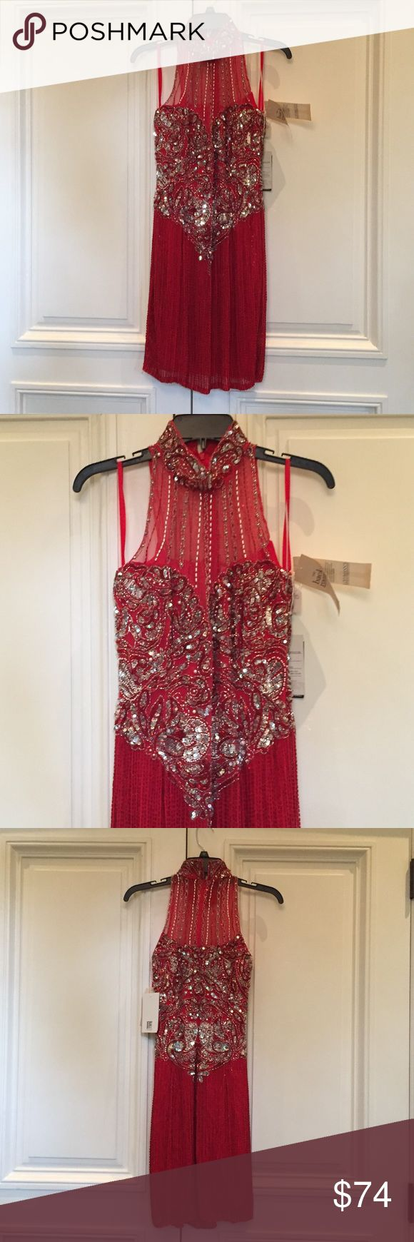 """Gorgeous Red Beaded Flapper Style Evening Dress NWT. Wowee Zoweee! This Ruby Red Flapper Style """"Niteline"""" Beaded Dress is absolutely stunning!! Wear this Statement Piece to Prom, Homecoming Dance, themed Socials, & Gala Ball Events! Ruby Red 100% Silk Shell is hand stitched with red bugle beads, silver sequins, & pearls. The rayon lining is sewn in - makes for a comfortable fit. Size 6.Bust 17"""" Waist 13.5"""" Length under arm to hem27"""" Neck 14"""" Niteline Dresses Mini"""