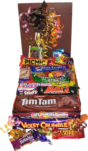 Packed with all types of your favourite Aussie sweets, Cherry Ripe, Violet Crumble, Picnic, Flake, Turkish Delight, Tim Tam Mint Crisp, Tim Tam Honeycombe, Wagon Wheel, Smarties, Fruit Tingles, Musk Lifesavers, Caramello Koalas, Freddo Frogs, Minties and of course a Vegemite Sachet just for our American friends to sample. Each sweets box makes a fantastic gift for friends, family, or clients.