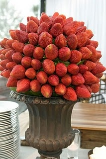 """Strawberry topiary - incorporate dark black cherries or grapes for """"spots"""" for more lady bug decor"""
