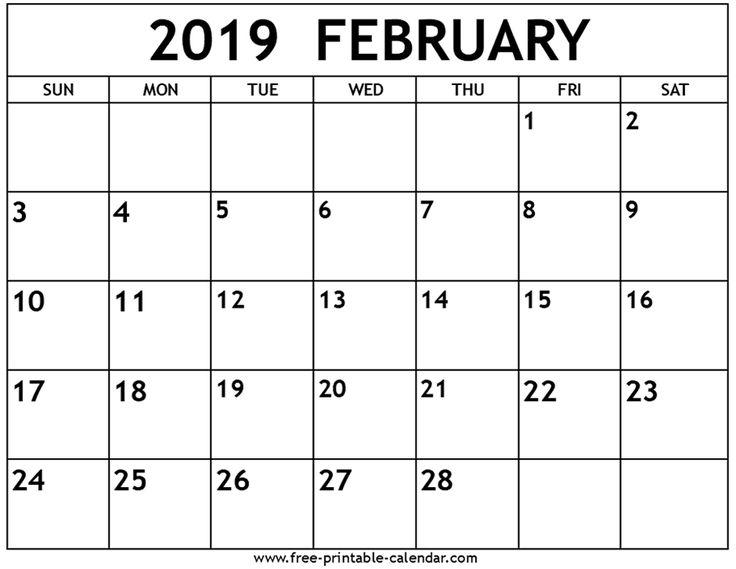 Printable February 2019 Calendar Blank February 2019 Calendar