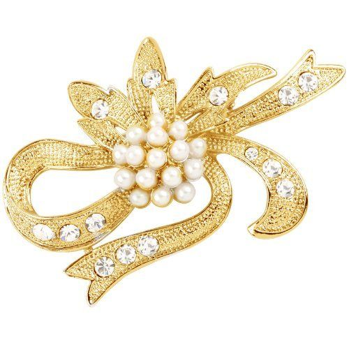 Vika Jewelry - 18K Gold Plated Pearl Brooch With Strass VIKA (Jewelry from Brazil). $33.00. Plate guarantee: 6 months