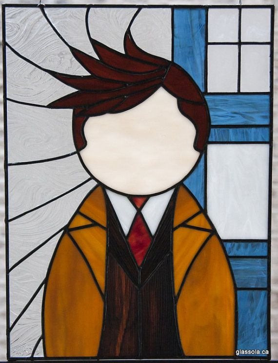 The Tenth Doctor stained glass panel by glassola on Etsy