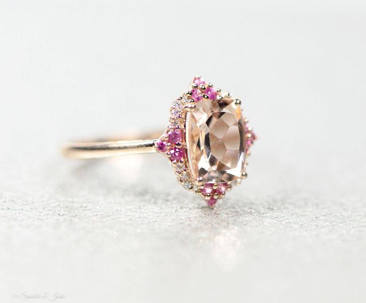 14k Rose Gold Antique Cushion Morganite, Diamond & Pink Sapphire Ring - Sparkle & Jade, SparkleAndJde.com, [product_sku]