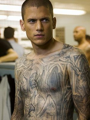 Imagine the time in makeup Wentworth Miller had to spend EVERY DAY during Prison Break. Yikes.
