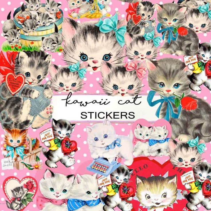 Vintage Kitsch Cat Kitten Stickers,Vintage ephemera,Kawaii Scrapbook Decoupage