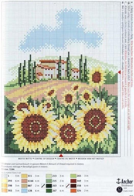 17 mejores im genes sobre punto de cruz paisajes en - Punto jardin ...