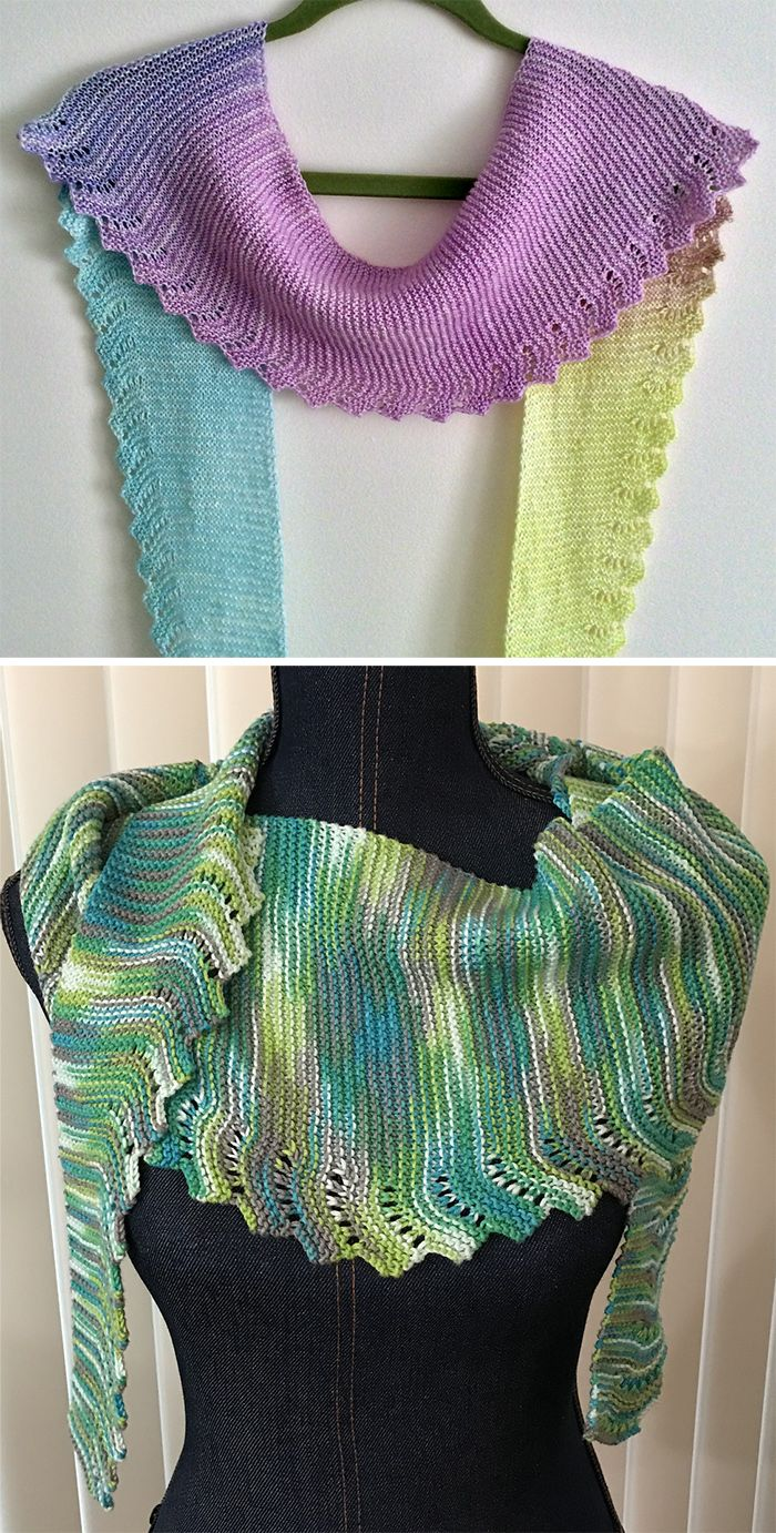 Free Knitting Pattern for Easy Workday Scarf - Easy scarf that consists of an 8 row repeat (7 of garter stitch and one of the lace). You do the 8 row increase repeat until the scarf is as half the length you want and then do the 8 row repeat decrease. Great for showcasing variegated, gradient, or cake yarn. Designed by Sue Flanders. Finished measurements; Length=60″, Width=1-1/2 to 8″. Pictured projects by cbass who used a gradient yarn and slwalsh
