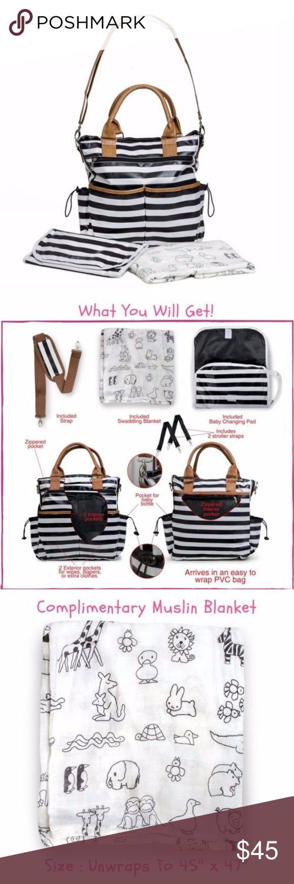 Baby Striped Diaper Bag Tote with Changing Pad Our diaper bag is reliably WATERPROOF and EASY TO CLEAN It is generously sized, with 1 main big zippered compartment, as well as 10 pockets of various shapes and sizes, 5 external and 5 internal. All the space you need for the changing pad, the baby's milk bottles, the diapers and your essentials. Get A Stunning BONUS! Adding TREMENDOUS VALUE to your pack, we are offering you 1 quality-made, soft, breathable SWADDLING WRAP in GENDER-FREE black…