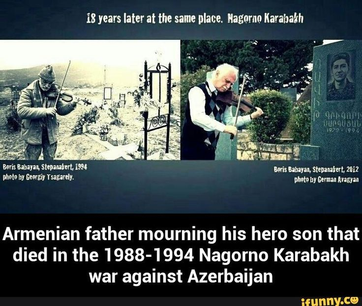 Armenian father mourning his hero son that died in the 1988-1994 Nagorno Karabakh war against Azerbaijan