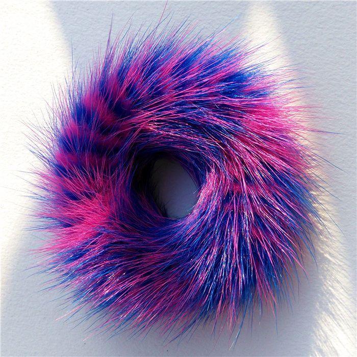 100%Handmade Real Bue & Pink MINK Fur Hair Holder Ponytail Scrunchie DS07