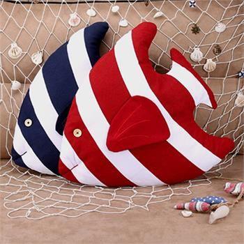 45cm 3D Fish Shape Stripe Cushion Throw Pillow Sea Ocean Home Car Decor & CORE | eBay