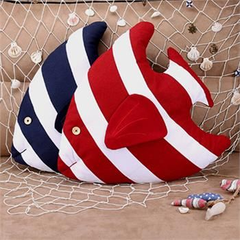 45cm 3D Fish Shape Stripe Cushion Throw Pillow Sea Ocean Home Car Decor & CORE | eBay
