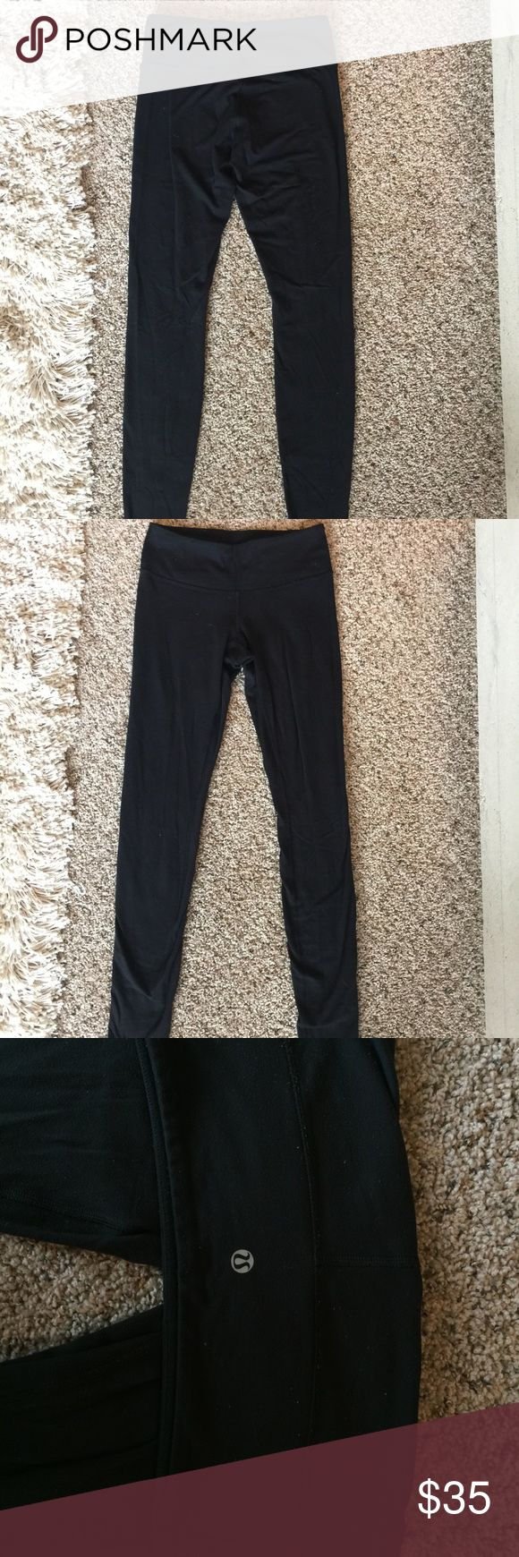 Black Lulu Lemon skinny leg leggings These Lulus are worn but in great condition. They are cotton, soft, and breathable. Size 4. Selling cheap! lululemon athletica Pants Leggings
