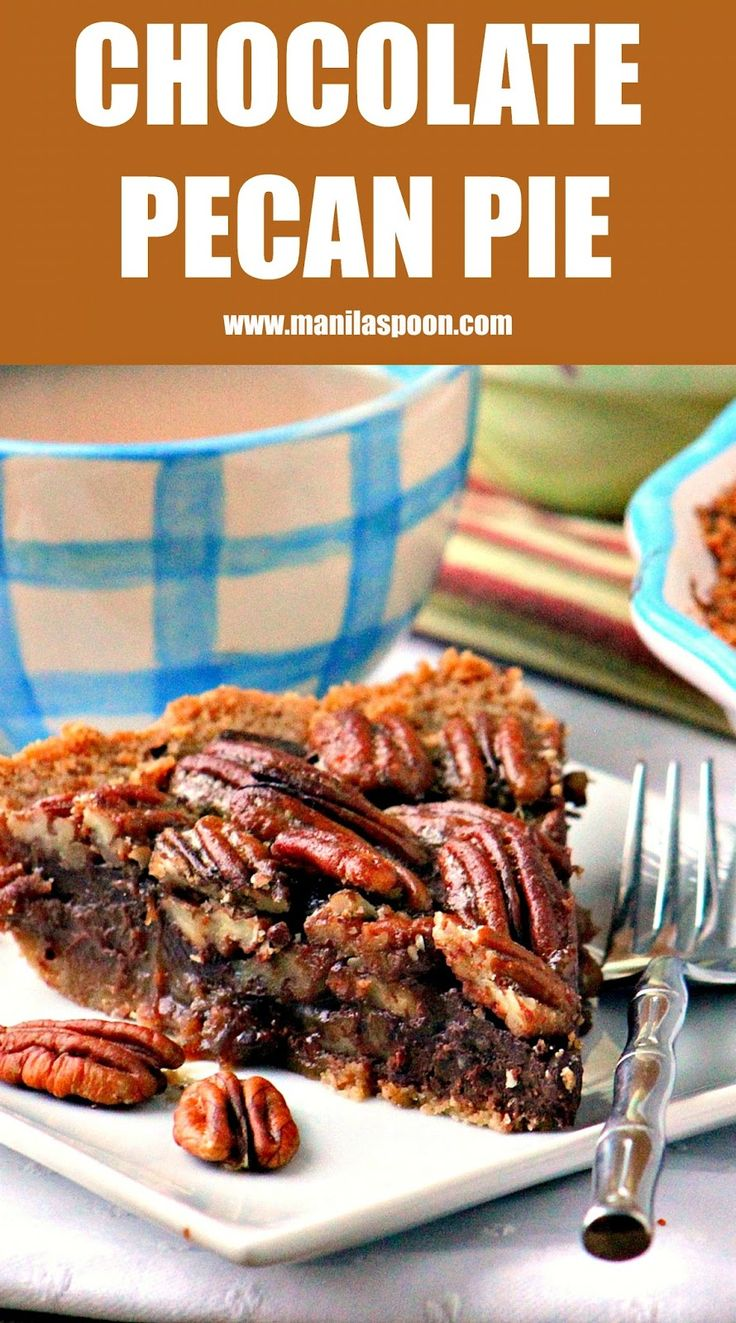 The ultimate dessert for Thanksgiving and Christmas - CHOCOLATE PECAN PIE! This is superbly yummy, easy and looks so pretty, too!