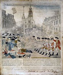 The Bloody Massacre Perpetrated in King Street Boston on March 5th, 1770, a copper engraving by Paul Revere modeled on a drawing by Henry Pelham,1770.