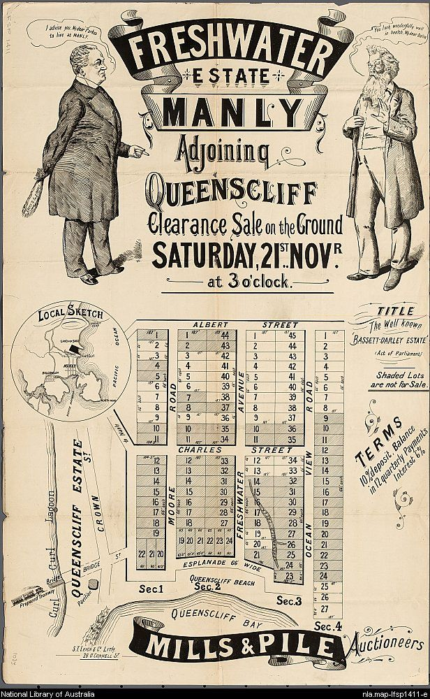 Advertisement for the sale of Freshwater estate, Manly, adjoining Queenscliff November1903